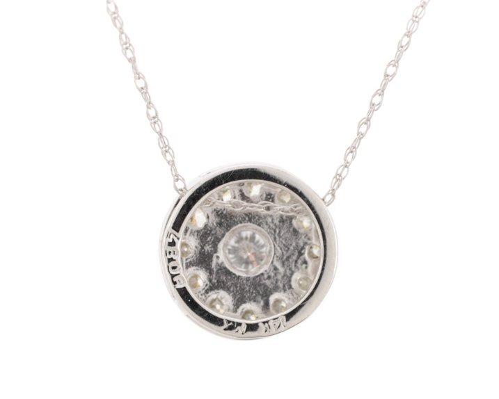 Ladies 14K WG & Diamond Round Pendant Necklace - 3