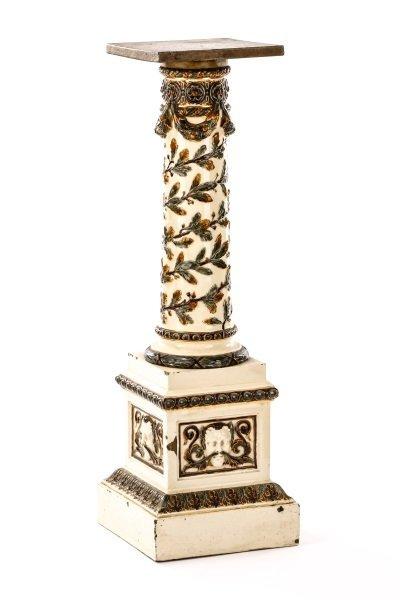 Italian Neoclassical Motif Majolica Pedestal