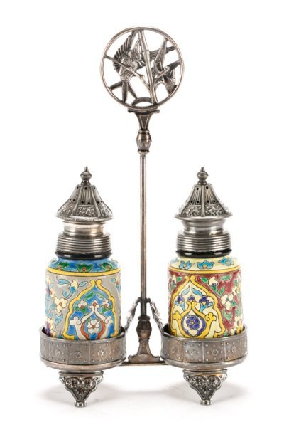 Faience Salt & Pepper Shakers in Silver Caddy