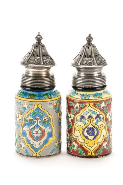 Faience Salt & Pepper Shakers in Silver Caddy - 2