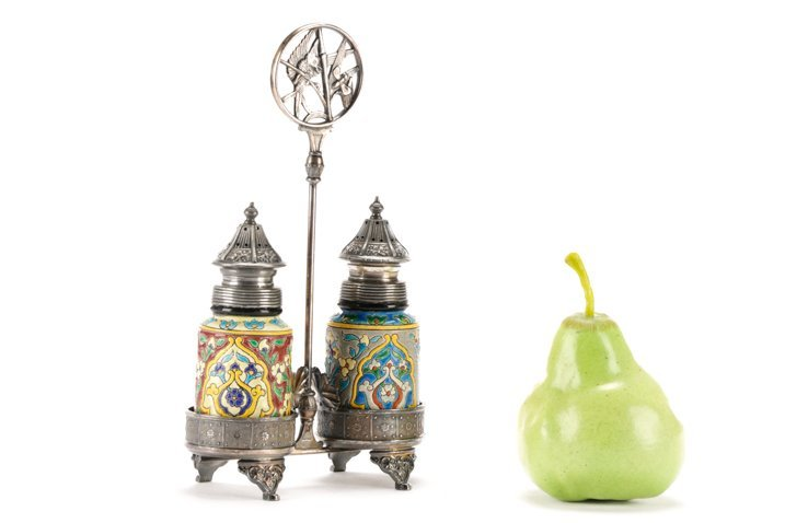 Faience Salt & Pepper Shakers in Silver Caddy - 6