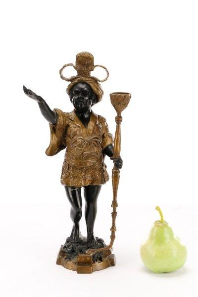 Pair of Bronze Blackamoor Figural Candlesticks - 10