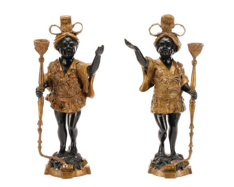 Pair of Bronze Blackamoor Figural Candlesticks