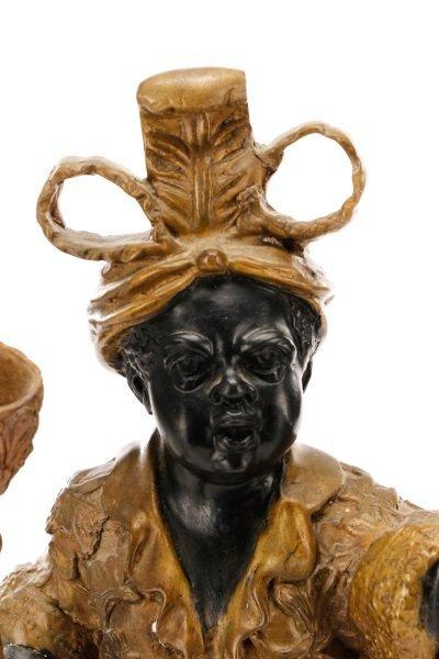 Pair of Bronze Blackamoor Figural Candlesticks - 2