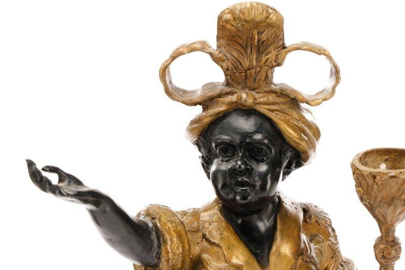 Pair of Bronze Blackamoor Figural Candlesticks - 3