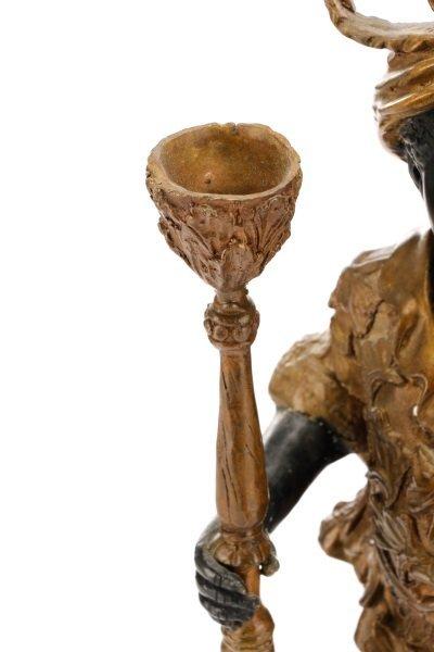 Pair of Bronze Blackamoor Figural Candlesticks - 6