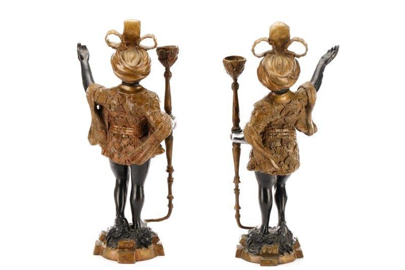Pair of Bronze Blackamoor Figural Candlesticks - 7