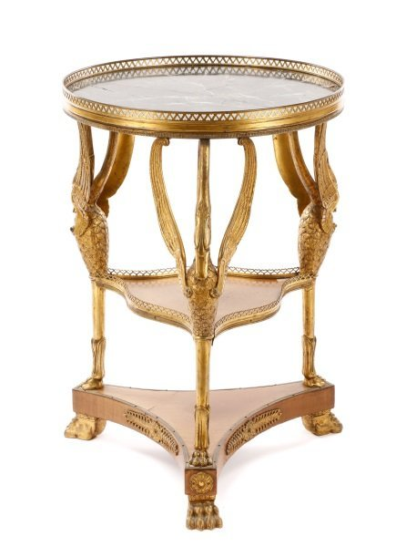 French Empire Style Marble & Gilt Bronze Gueridon