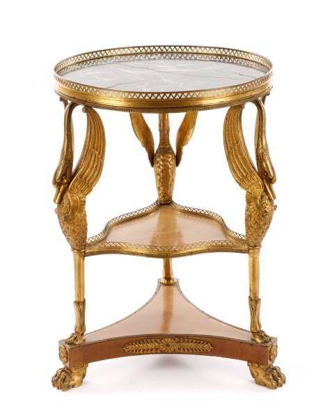 French Empire Style Marble & Gilt Bronze Gueridon - 6