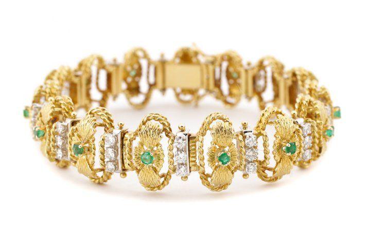 Ladies 18K Yellow Gold, Diamond & Emerald Bracelet