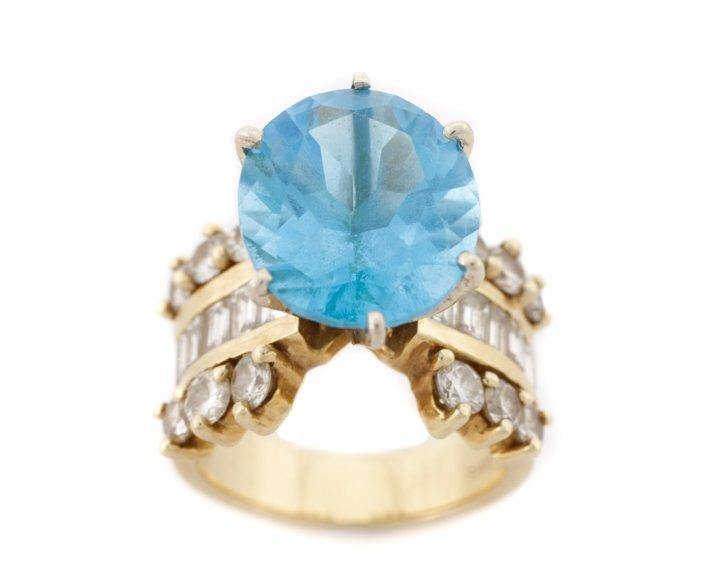 Large 14K Yellow Gold, Blue Topaz, & Diamond Ring