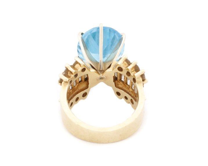 Large 14K Yellow Gold, Blue Topaz, & Diamond Ring - 5