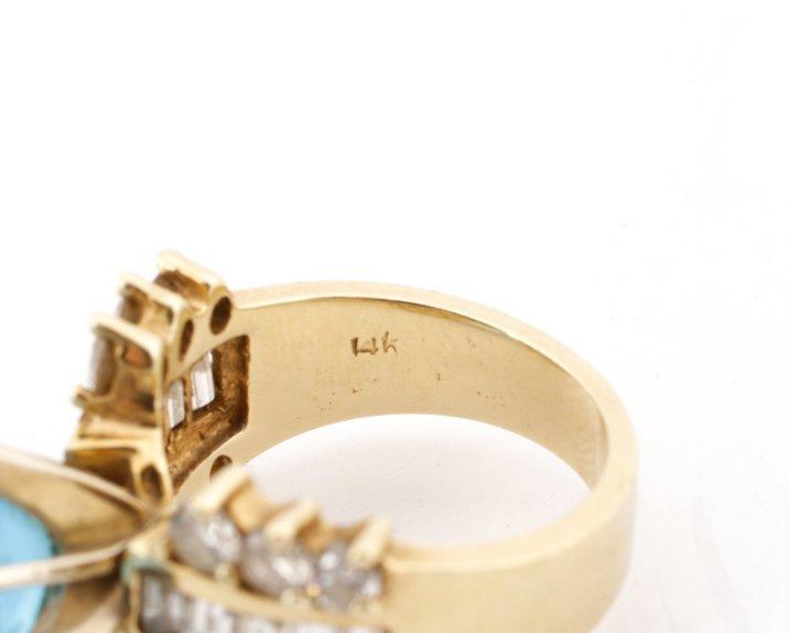 Large 14K Yellow Gold, Blue Topaz, & Diamond Ring - 6