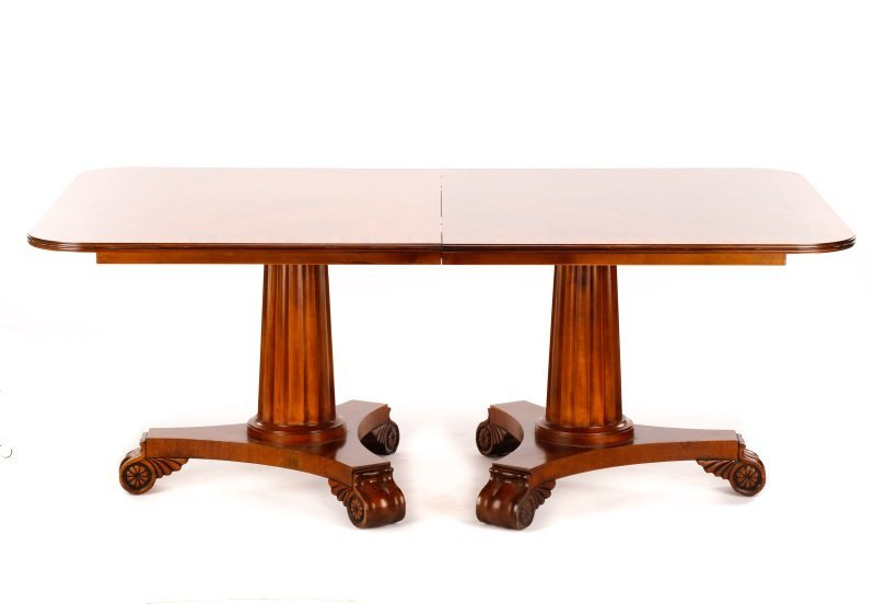 Stained Mahogany Double Pedestal Dining Table