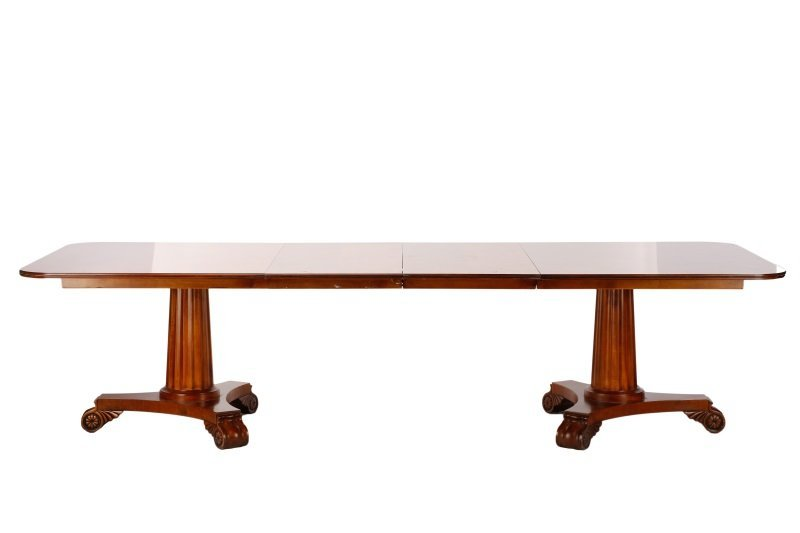 Stained Mahogany Double Pedestal Dining Table - 6