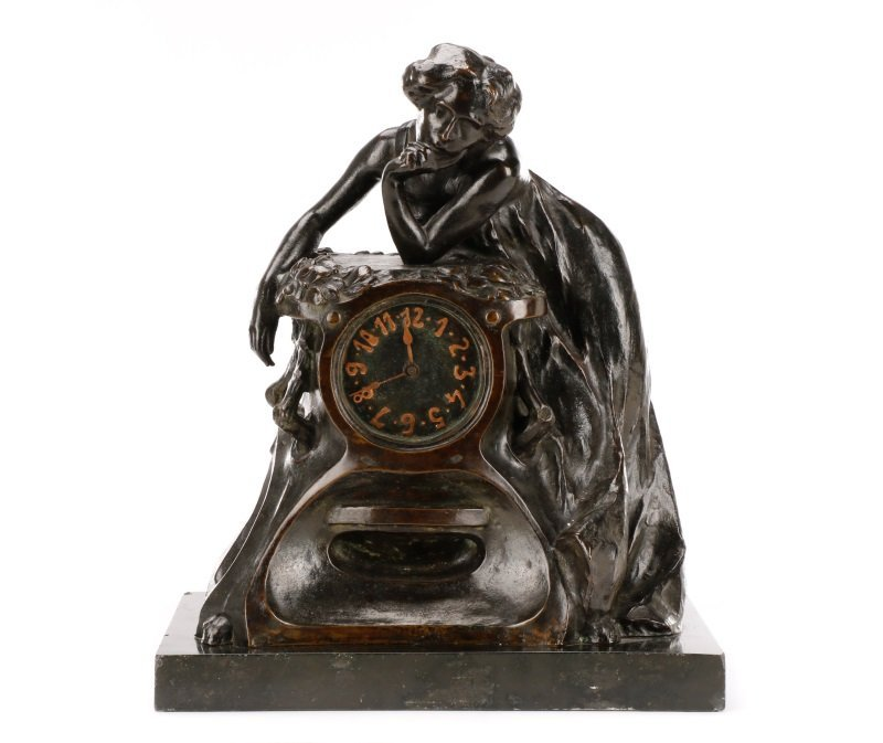 Art Nouveau Bronze and Onyx Mantle Clock, Signed