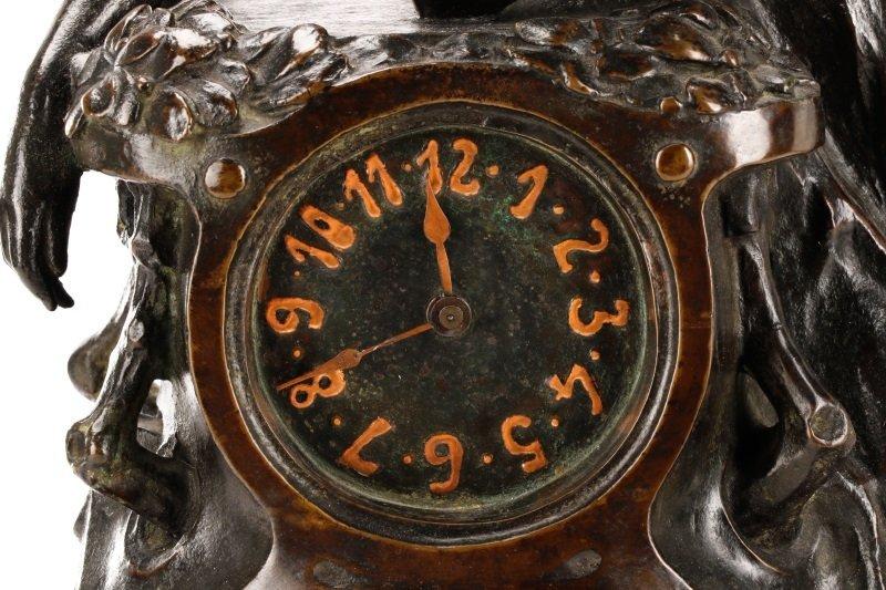 Art Nouveau Bronze and Onyx Mantle Clock, Signed - 6