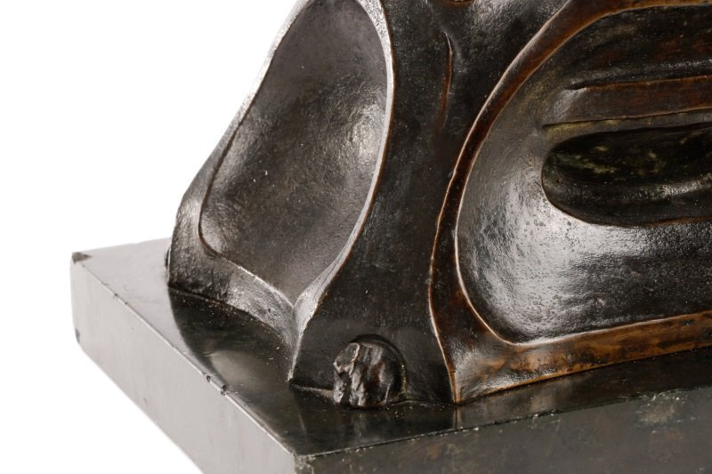 Art Nouveau Bronze and Onyx Mantle Clock, Signed - 7