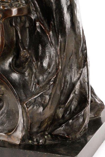 Art Nouveau Bronze and Onyx Mantle Clock, Signed - 8