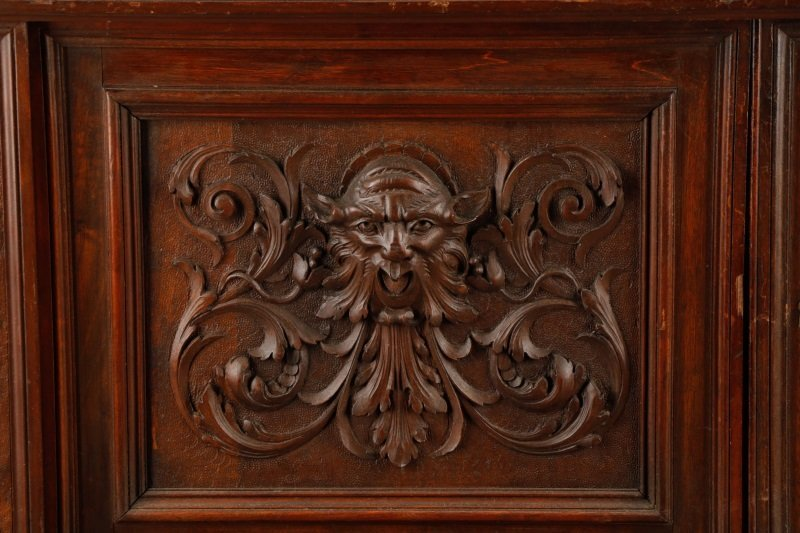 Highly Carved and Stained Oak Drop Front Bar - 2