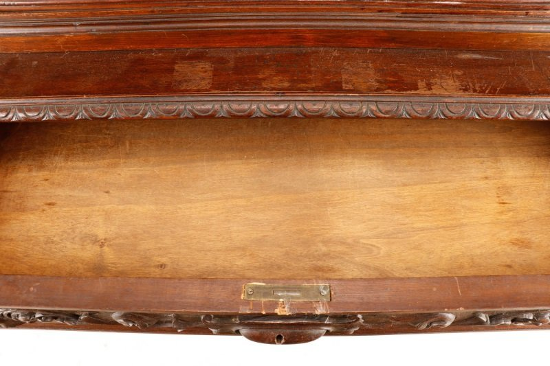 Highly Carved and Stained Oak Drop Front Bar - 6