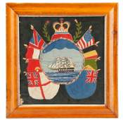 Embroidered Sailor's Woolwork Of Flags Of Nations