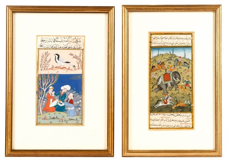 Pair of Persian Mughal Hand Painted Miniatures