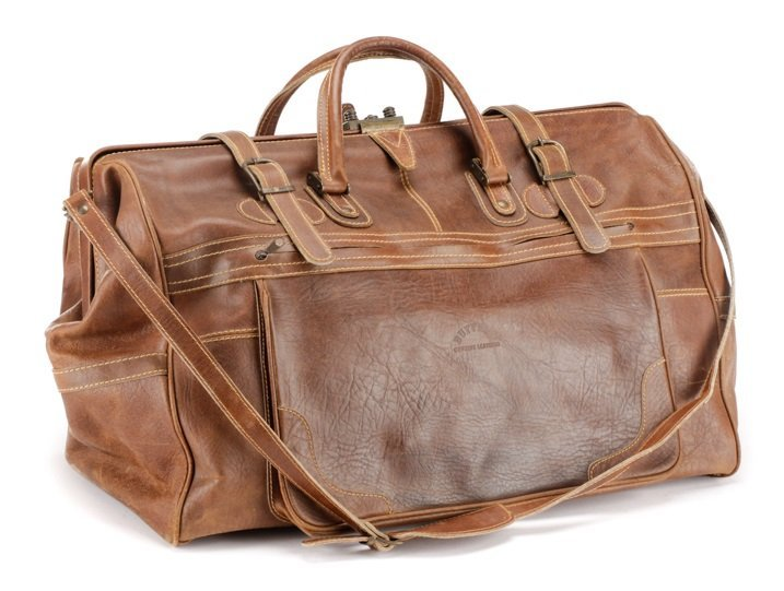 Large Brown Bison Leather Duffel Bag