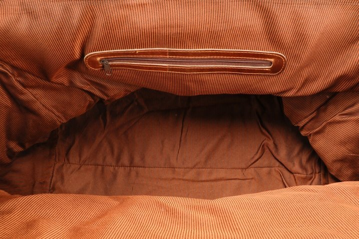 Large Brown Bison Leather Duffel Bag - 5