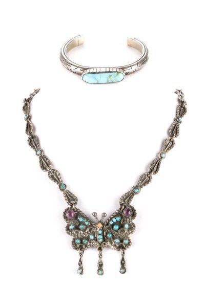 Suite of Vintage Silver and Turquoise Jewelry
