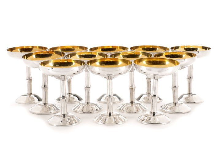 Set of 12 Spanish Silver Saucer Champagnes