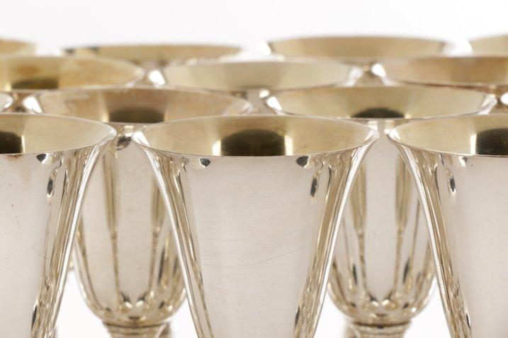 Set of 22 Spanish Silver Goblets w/Grapevine Stem - 3