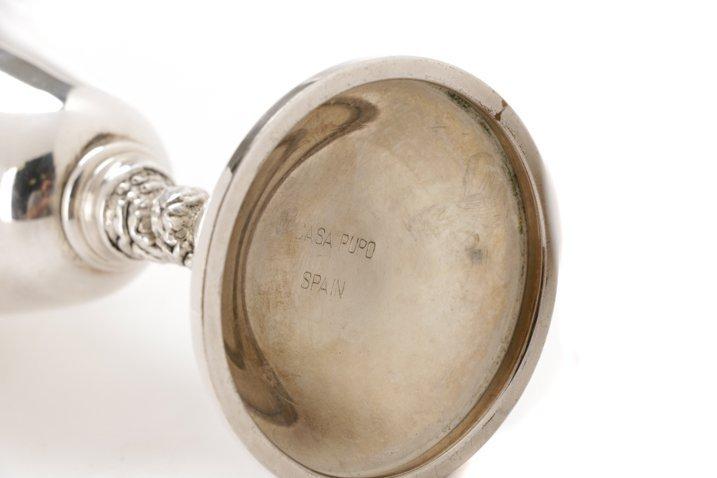 Set of 22 Spanish Silver Goblets w/Grapevine Stem - 6