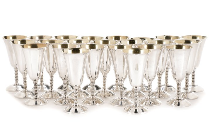 Set of 23 Spanish Silver Water Goblets