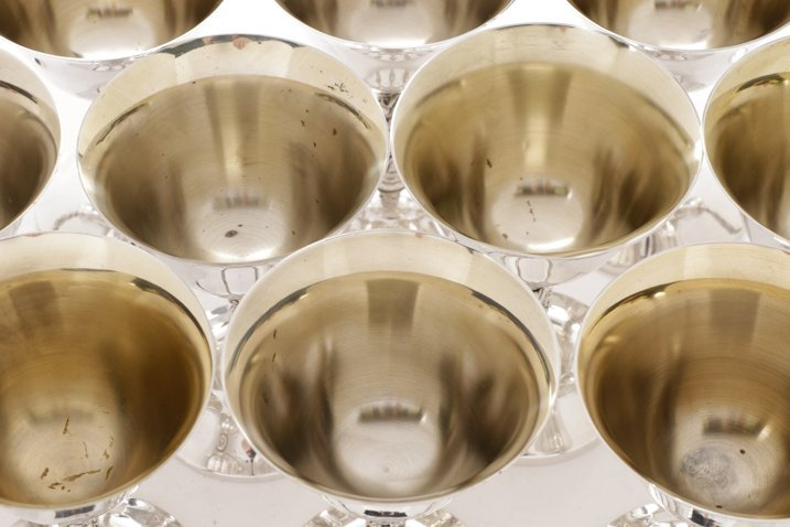 Set of 12 Spanish Silver Sherbet Goblets - 3
