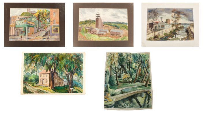 Collection of Regionalist Watercolor Paintings