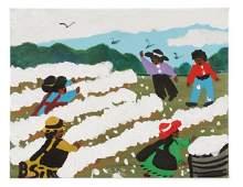 """Bernice Sims, """"Cotton Fields"""", Oil on Artist Board"""