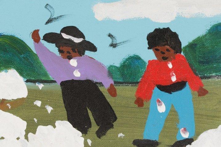 """Bernice Sims, """"Cotton Fields"""", Oil on Artist Board - 3"""