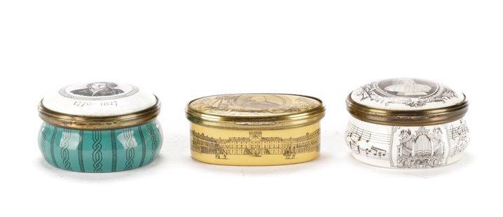 3 Bilston & Battersea Enameled Pill Boxes, Cartier