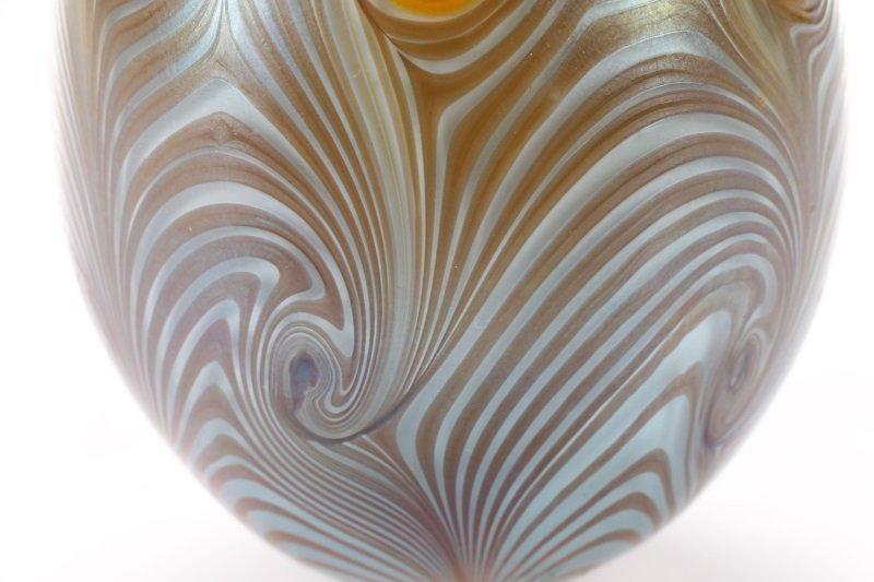 Vandermark Art Glass Pulled Feather Egg, 1974 - 2