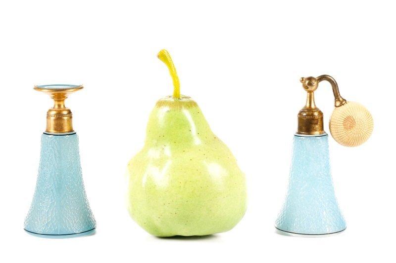 Art Deco Blue Glass Perfumizer & Dropper - 8