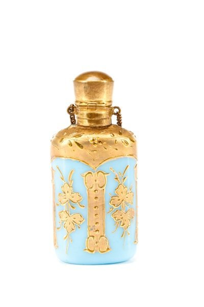 Blue Opaline Glass Chatelaine Scent Bottle - 2