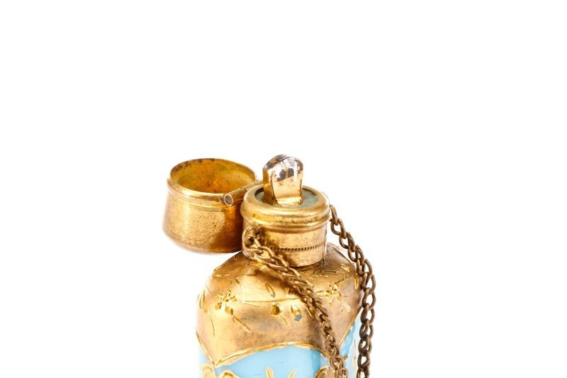 Blue Opaline Glass Chatelaine Scent Bottle - 3