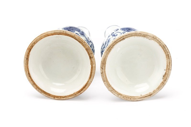 Pair of Unusual Chinese Export B&W Porcelain Vases - 7