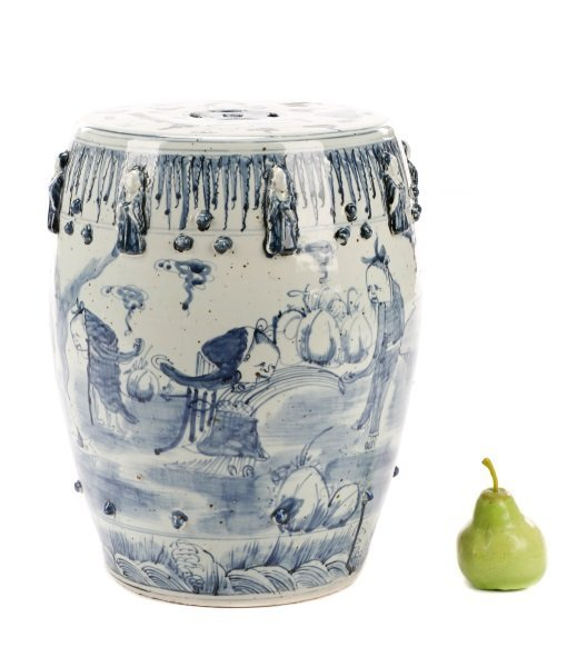 Buddhist Immortal Motif Chinese Garden Stool - 9
