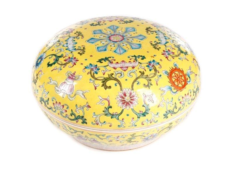 Famille Jaune Ba Jixiang Round Box, Qianlong
