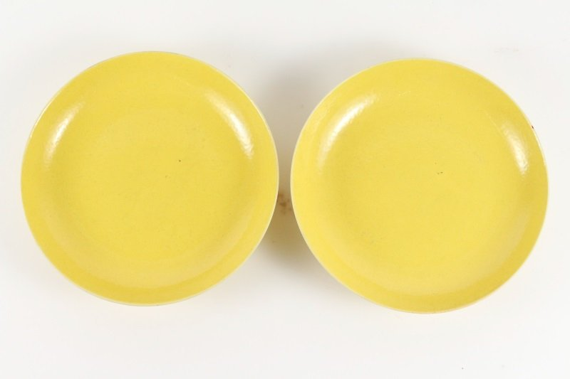 Pair of Chinese Imperial Yellow Dishes, Guangxu - 4