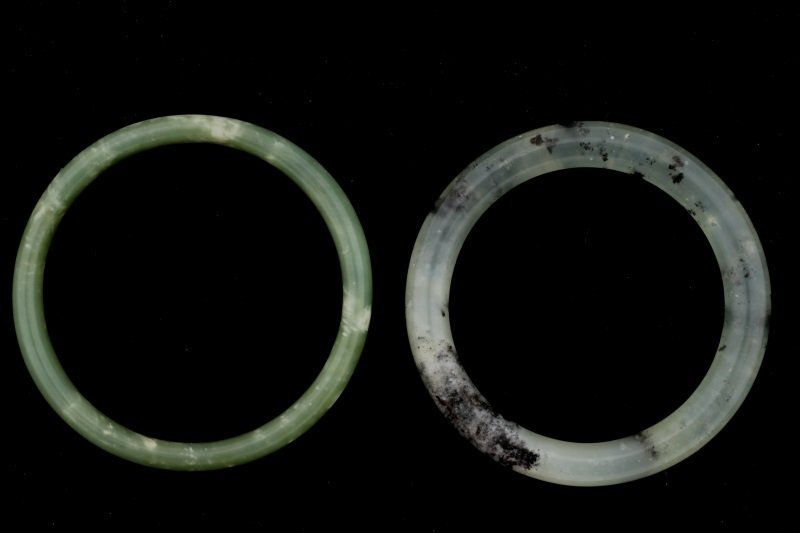 Two Chinese Carved Green Hardstone Bangles