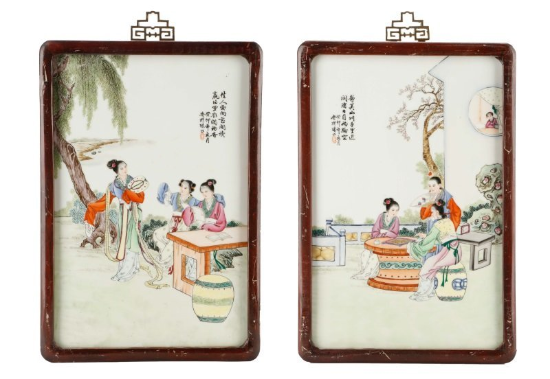 Pair of Chinese Figural Porcelain Plaques, Framed