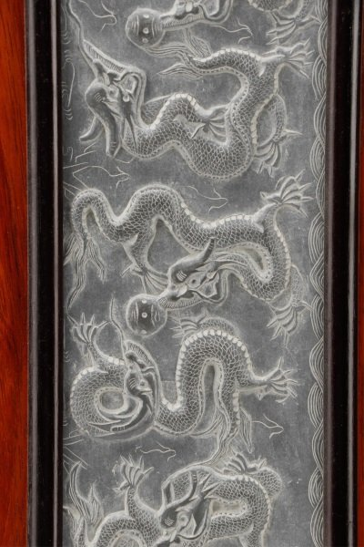 Asian Carved Panoramic Hardstone Plaque, 9 Dragons - 3